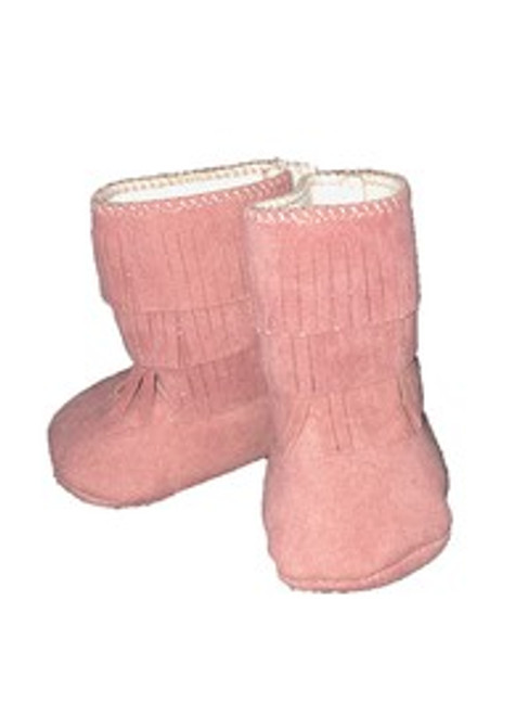 Pink Suede Baby Boots with Fringe