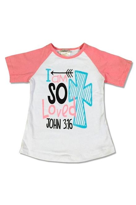 Pink Raglan top I am so loved John 3:16
