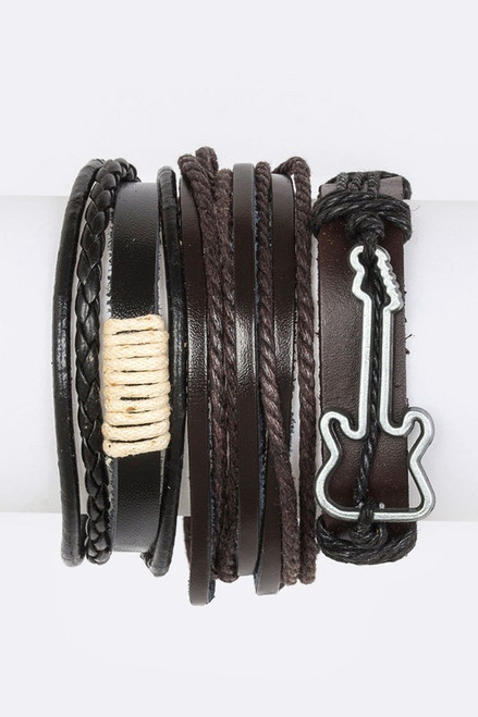 Guitar Charm Mix Leather Bracelet Set