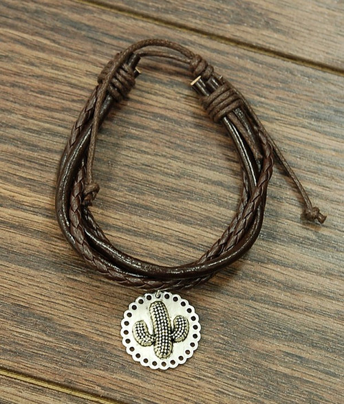 Cactus Charm, Leather Bracelet