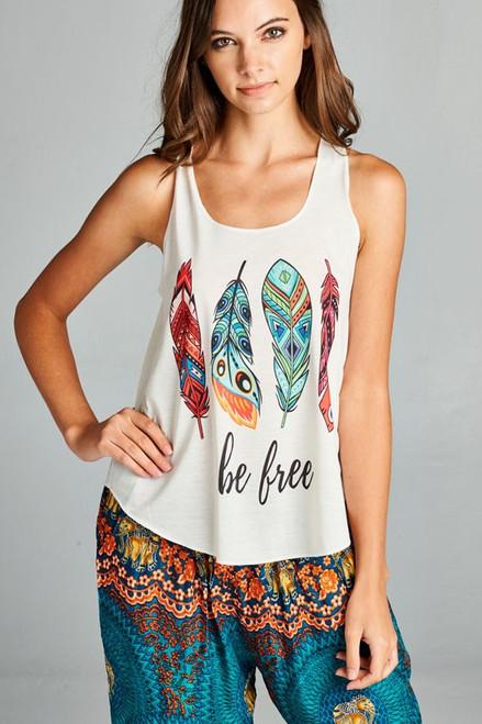 Be Free Boho Feather print tank top