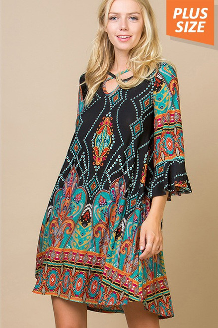 MULTI PRINT TUNIC DRESS