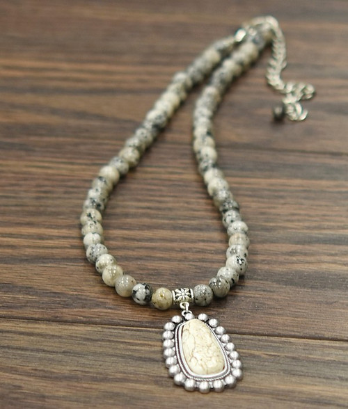 Natural Jasper Necklace & Natural White Turquoise Pendant