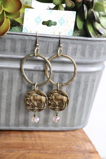 Antique Gold Ring Earrings with Buffalo