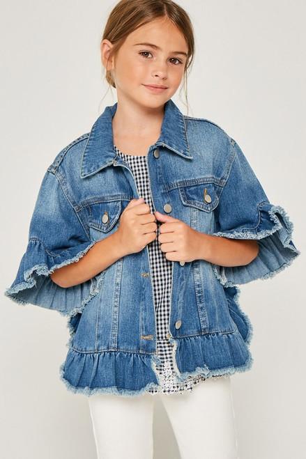 Girls Ruffle Stone Wash Denim Jacket