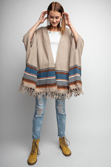 BORDERED KNITTED PONCHO STYLE OPEN CARDIGAN