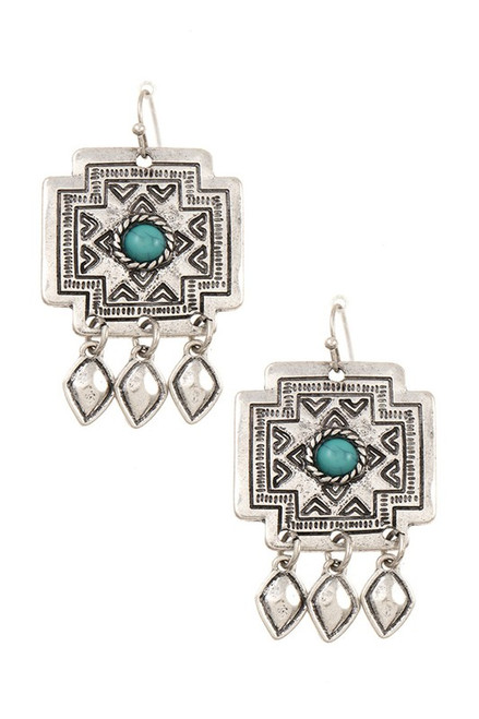 ETCHED DANGLE GEM ACCENT EARRING