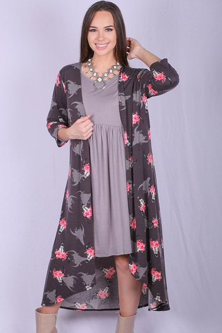 3/4 sleeve bull printed long body women cardigan