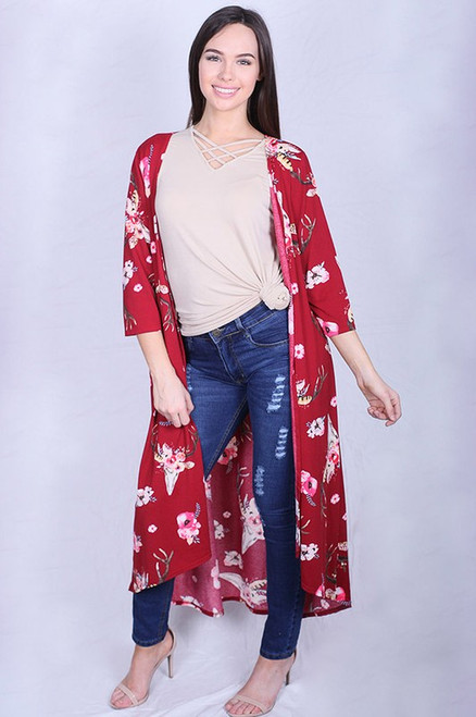 3/4 Sleeve Women Open Bull printed long body cardigan