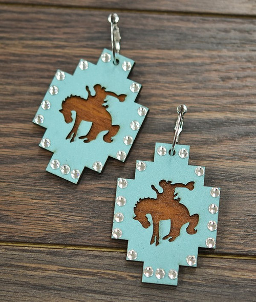 Big!  Bronco Double Layer Wood Earrings