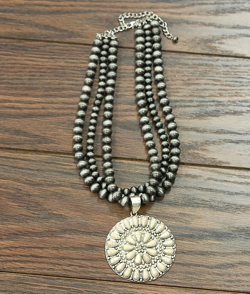 Navajo Pearl Necklace, White Turquoise Pendant