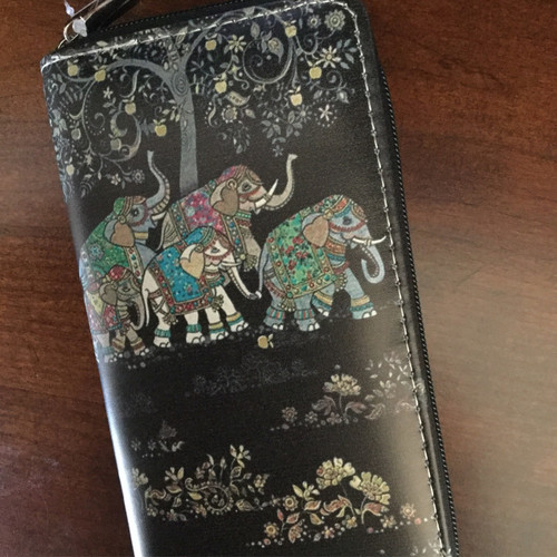 Multi Black Boho Elephant Zipper Wallet