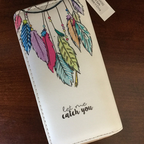 Multi Dream Catcher Feathers Vinyl Zipper Wallet