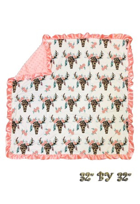 "CUTE COW SKULL BABY BLANKET WITH CORAL RUFFLE. 32"" BY 32""."
