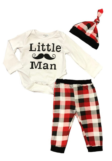 LITTLE MAN 3 PIECE SET, PLAID PANTS & BEANIE
