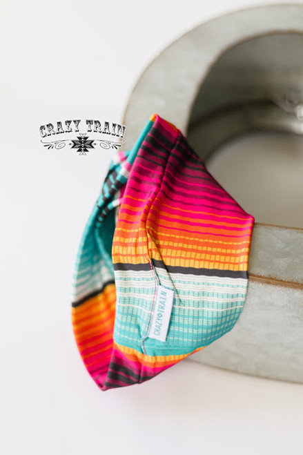 RIVER RAT HEADBAND ** TURQ / PINK SERAPE