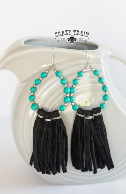THE TRAIL OF TEAR DROP EARRINGS * BLK/TURQ *