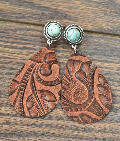 TOOLED LEATHER POST WITH TURQUOISE EARRING