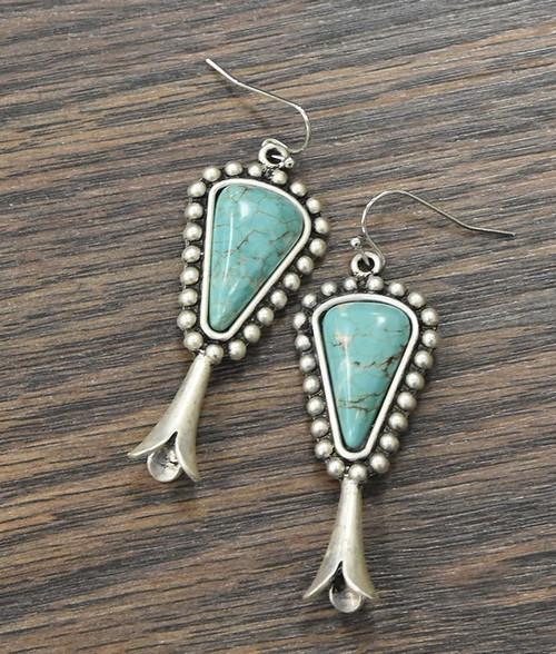 Squash Blossom Natural Turquoise Earrings
