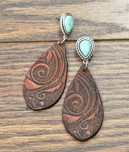 Tooling Leather**, Natural Turquoise Post Earrings