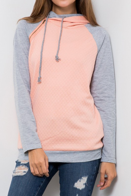 Double hoodie comfy long sleeve top