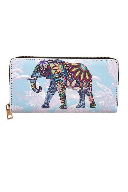 Colorful Padded Wallet w/ Elephant