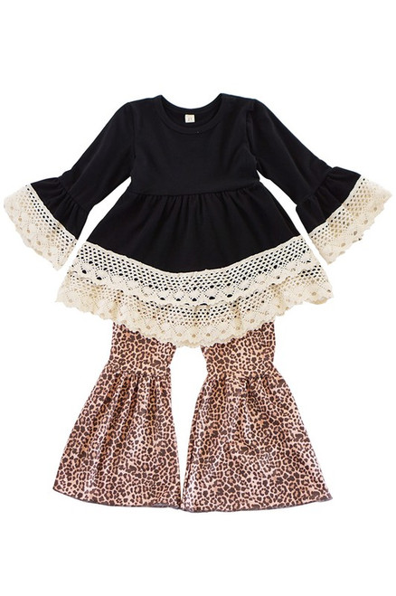 Black Lace Ruffle Tunic with Leopard Print Pants Set