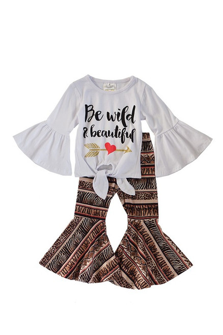Be Wild and Beautiful Tie Front Shirt with Bell Leopard Pants Set