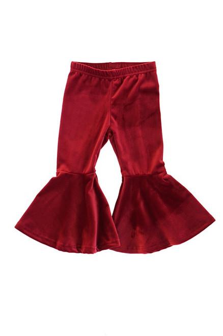 Maroon Flared Velvet Bell Pants