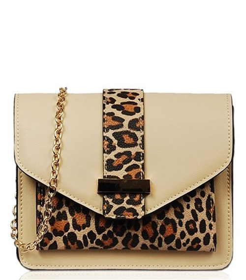 Crossbody Compact Solid Color with Leopard Accents
