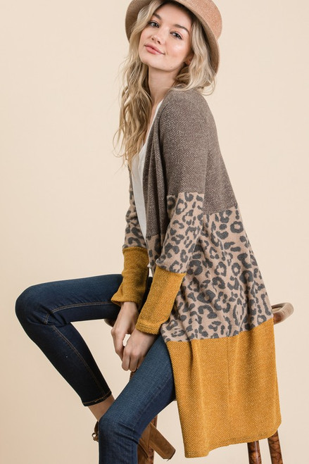 Color Block Leopard Long Open Cardigan