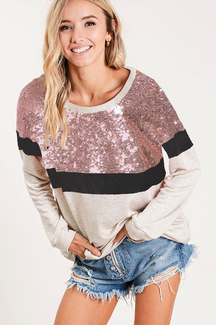 SEQUINS MIX AND MATCH COLOR FRENCH TERRY WIDE NECK SWEATSHIRT