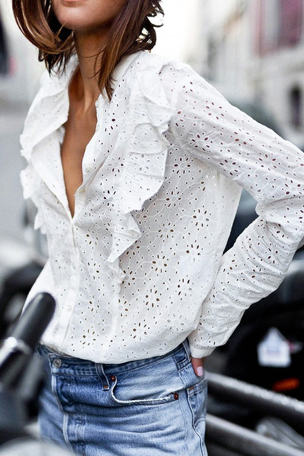 Long Sleeve Hollow Out Ruffle Detail Button Down Shirt