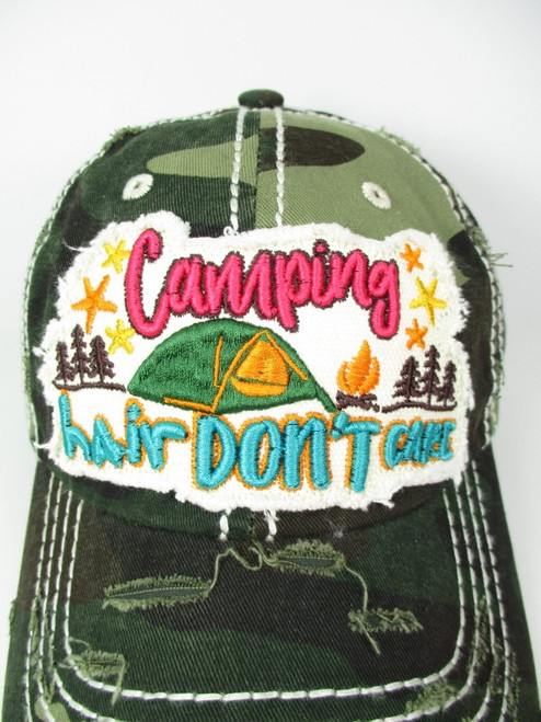 VINTAGE BALL CAP CAMPING HAIR DON'T CARE