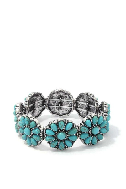 BEADED FLOWER STRETCH BRACELET