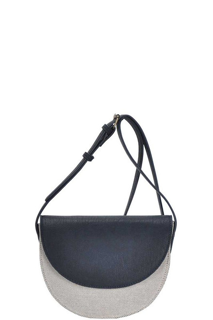 TWO TONE FASHION CANVAS CROSSBODY BAG