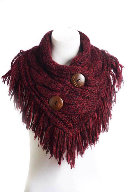CABLE KNIT FRINGED SCARF WITH COCONUT BUTTONS