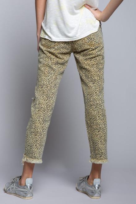 Leopard Print Distressed Boyfriend Cut Jean
