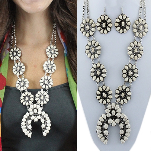 White and Silver Squash Blossom Set
