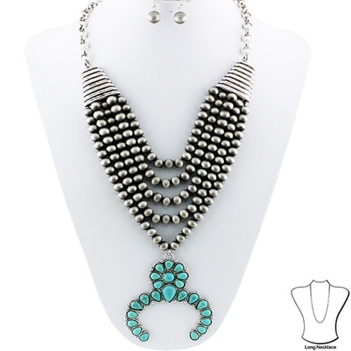 Multi Layered Beaded Necklace Set in Silver and Turquoise Squash