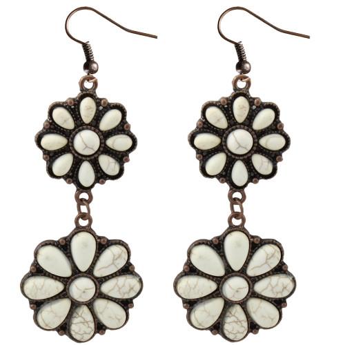 White Squash Earrings in Copper Tone