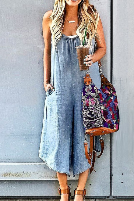 Loose Fitting Denim Jumpsuit