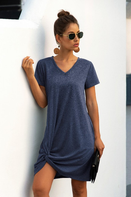 V Neck Short Sleeve T-Shirt Dresses