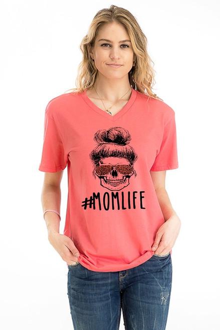 #MOM LIFE Skull V-neck Tee
