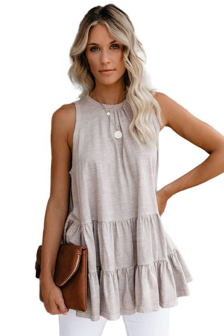 Ruffle Round Neck Tank Top