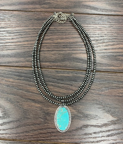 Navajo Pearl & Natural Turquoise Pendant Necklace