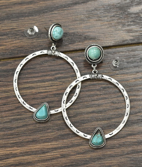 Boho Natural Turquoise Post Earrings
