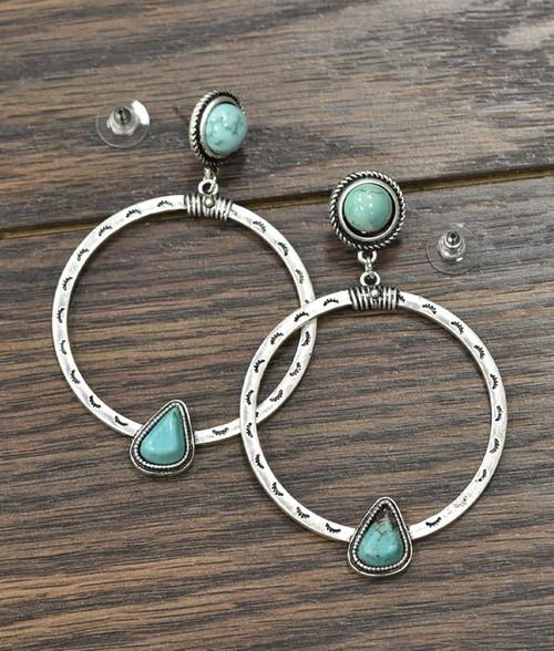 Boho Natural Turquoise Post Earrings