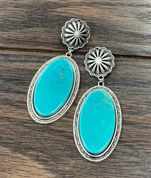 Flat Top Natural Turquoise Oval Post Earrings