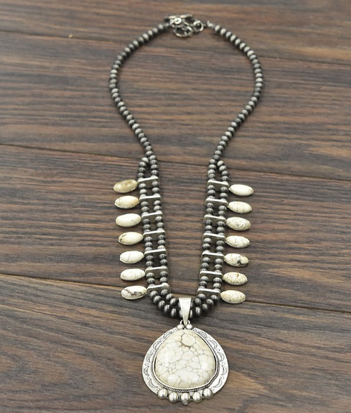 Full Squash Blossom Natural White Turquoise Necklace